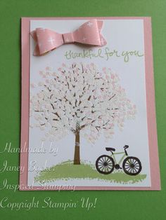 Inspired Stamping by Janey Backer Sheltering Tree, embossing, bike, bow builder punch