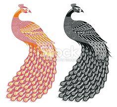b Peacock Painting, Peacock Art, Pattern Art, Print Patterns, Peacock Vector, Peacock Tattoo, Folk Embroidery, Love Drawings, Zentangle Patterns