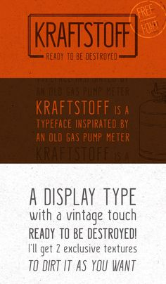 Kraftstoff is a display typeface based on antique gas pump meters. Designed by Guilherme Schneider Denzin - posted under Free Fonts tagged with: Display, Free, Graphic Design, OTF, Resource, Sans Serif, Typeface, Typography, Vintage by Fribly Editorial