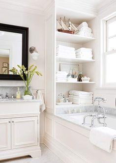 White Bathroom - Marble - Open Shelving