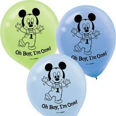 """There's a party at the House of Mouse! These white printed blue, baby blue, and green latex balloons star a happy baby Mickey Mouse ready to celebrate his first birthday! A """"Oh Boy, I'm One!"""" headline"""