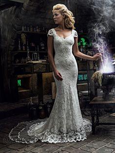 olvis 2017 couture bridal cap sleeves scoop neckline full embellishment elegant classic trumpet wedding dress v back sweep train (2290) mv