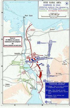 Israel - Map of Yom Kippur War (October War) Egyptian Front IV - Operation Gazelle First Part
