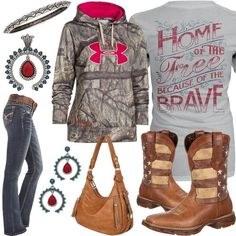 Click Each Item for More Info Home Of The Free Shirt Under Armour Hoodie Durango Flag Boot Belted WallFlower Jean Tan Handbag Etched Bracelet Tribal Flair Earri