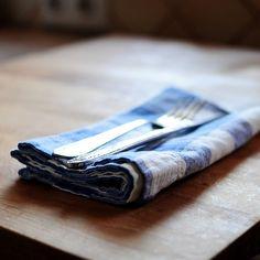 Placemats – Blue Check Linen Cotton Napkin – a unique product by LinenTales on DaWanda