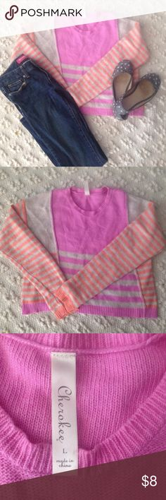 Girls Striped Sweater Sherbert colors of lilac and orange. Size large. Cherokee brand Cherokee Shirts & Tops Sweaters