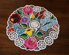 Kalocsa lace (Richelieu) doily with authentic Hungarian embroidery patterns - (Id: LACE-KAL-DOI-TR-227)