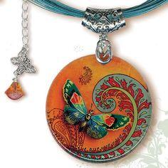 Paisley Butterfly Necklace - BOTANCIALZ Reversible Glass Art Jewelry  | TzaddiShop - Jewelry on ArtFire