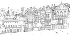 San Francisco Painted Ladies coloring page
