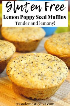 Gluten Free Lemon Poppyseed Muffins - #almondflour #dairyfreelemonpoppyseed #glutenfreelemonpoppyseed #glutenfreemuffins Dairy Free Muffins, Gluten Free Pancakes, Pancakes And Waffles, Gluten Free Recipes For Breakfast, Gluten Free Breakfasts, Brunch Recipes, Low Sugar Banana Bread, Lemon Poppyseed Muffins, Vegan Yogurt