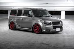 Gray Honda Element with Custom Body Kit - Photo by Avant Garde Wheels Custom Body Kits, Honda Element, Compact Suv, Matte Red, Import Cars, Red Candy, Jdm, Grey, Wheels