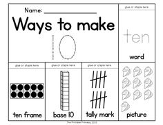 This can be made into an anchor chart! Leave boxes blank, laminate and fill out with students! A great {new} way to teach numbers! Students can see the number represented in several ways.