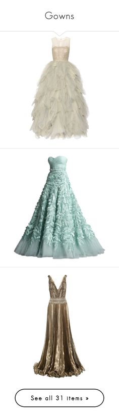 """""""Gowns"""" by lydpanth-th-hen ❤ liked on Polyvore featuring dresses, gowns, vestidos, long dresses, sequin dress, tulle gown, long beaded dress, tulle ball gown, sheer embroidered dress and green dress"""