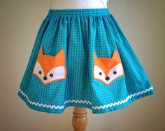 Fox Pocket turquoise skirt Girls sizes 510 by ashleylynneclothing, $38.00