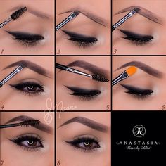 "All products shown are from @Anastasiabeverlyhills✨✨ 1.Start by taking the spoolie side of the double sided brush #12 and comb through the brow hairs 2.Taking Dipbrow in ""Ebony"" with the same brush, line the bottom of the brow following your own natural shape! 3.For a more defined brow, line the top of the brow 4.Fill in the empty space with light strokes and in ..."