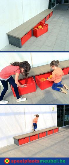 Storage benches for the playground. All outdoor toys are neatly stored on the playground. Buckets scoops balls jump ropes all safely up Outdoor Toy Storage, Outdoor Toys, Outdoor Fun, Outside Playground, Preschool Playground, Outdoor School, Outdoor Classroom, Outdoor Learning Spaces, Home Daycare