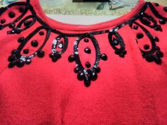 Vintage Liz Claiborne red sweater with great sequin details. Available April 21st at an Atlanta estate.