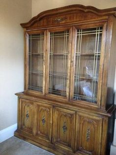 Solid Wood Dining Room Table6 Chairswith Matching China Cabinet In Jen1126s Garage