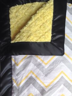 Yellow and Gray Chevron Baby Blanket with Silky Border! It comes in Baby and toddler size.