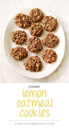 Chewy Lemon-Oatmeal Cookies - Forks Over Knives Vegan Dessert Recipes, Vegan Sweets, Vegan Snacks, Whole Food Recipes, Healthy Desserts, Plant Based Whole Foods, Plant Based Eating, Plant Based Recipes, Oatmeal Cookies