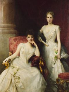 Sisters, a double portrait of the Misses Renton, by Sir Samuel Luke Fildes, 1889 Classic Paintings, Old Paintings, Paintings I Love, Beautiful Paintings, Victorian Paintings, Victorian Art, Singer Sargent, Classical Art, Old Art