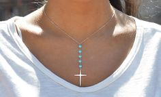 2.00 CTTW Genuine Turquoise Beaded Cross Necklace in...