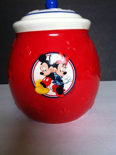 Mickey Mouse Minnie Mouse Disney Red Cookie Jar by HochePotBoutique,