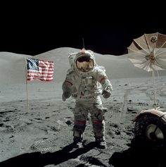 Gene Cernan on the Moon towards the end of the third EVA. Note the dark color of his legs due to the dust. Photo: NASA AS17-140-21390HR