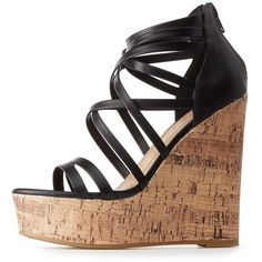 42f9d6c70bfa Charlotte Russe Strappy Cork Wedge Sandals ( 29) ❤ liked on Polyvore  featuring shoes