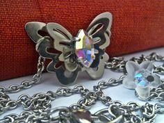 Shabby Chic Butterfly Swarovski Necklace by ApplebiteJewelry