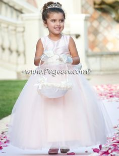 Pink Tulle Flower Girl Dresses with our Pegeen Signature Bustle - Pegeen Couture Style 402