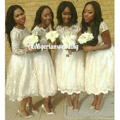 White, lace short bridesmaids dresses , love it ! Thank you @teebabeoflife ! #NWbms #Bridesmaids #vintagelace #lace #lacedress #whitebridesmaidsdresses #wedding #nigerianwedding #nigerianweddingpictures