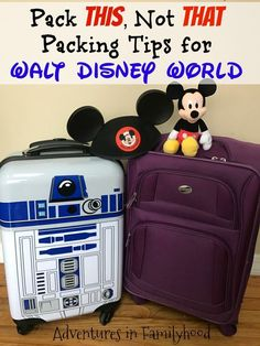 What should you pack for your Walt Disney World vacation? Here's a list, tip… What should you pack for your Walt Disney World vacation? Here's a list, tips and free printable to help make your packing decisions easier. Packing List For Disney, Disney World Packing, Disney Vacation Planning, Walt Disney World Vacations, Disneyland Trip, Trip Planning, Packing Tips, Disney Travel, Disney Parks