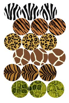 """ANIMAL PRINT COLLAGE MIX bottle cap image pack  Formatted for printing on 4"""" x 6"""" photo paper"""