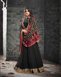 Black Georgette Party Salwar Kameez - SKMOHI49002 Black Georgette Anarkali Salwar Kameez with Thread and Zari Embroidery. Extremely Desirable Style Ethnic Anarkali Suit with Bottom of Santoon Fabric. Comes with a matching Georgette Dupatta.