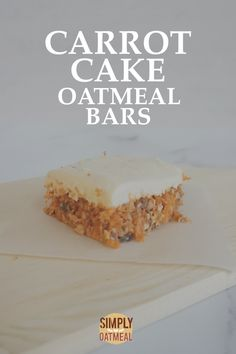 No bake carrot cake oatmeal bars are a quick and easy recipe that you will fall in love with. Not only are they incredibly tasty, but they are cute bite sized bars that are packed with a combination of highly nutritional foods. Carrot Cake Bars, Carrot Cake Oatmeal, No Bake Oatmeal Bars, Cheese Alternatives, Baked Carrots, Dessert Tray, Baked Oats, Vegan Cream Cheese, No Bake Snacks
