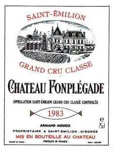 Chateau Fonplegade Saint Emilion 1983 Wine Label