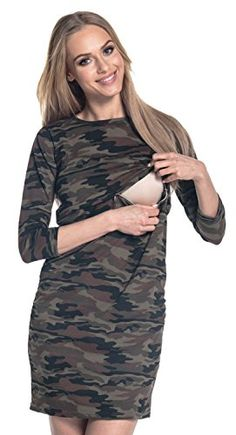5dd79fc8a6 Happy Mama Womens Nursing Layered Camo Straight Dress Maternity Crew Neck  180p Camouflage US 12 2XL