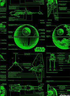 Star Wars II - Starship Blueprints - Lime Green