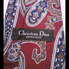 CHRISTIAN DIOR MONSIEUR 100% silk Beautiful burgundy designer tie, silk ( Trade value higher ) Dior Accessories