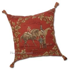 Race Day Paddock Pillow - Fabulous tapestry fabric made in the USA.