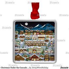 Christmas Under the Cascade Mountains Metal Ornament http://www.zazzle.com/christmas_under_the_cascade_mountains_metal_ornament-175787280083027357 jenniferlakeart.blogspot.com
