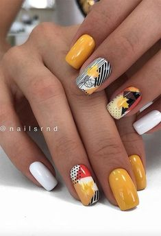 Autumn Shades With Leafy Stamping On Top Fall Nail Art Designs Youll Love Manicure Nail Designs, Fall Nail Art Designs, Short Nail Designs, Nail Manicure, Gel Nails, Manicure Ideas, Nail Polish, Coffin Nails, Fall Acrylic Nails