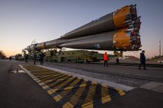 The Soyuz rocket is rolled out to the launch pad by train, on Sunday, October 21, 2012, at the Baikonur Cosmodrome in Kazakhstan.  Expedition 33 Soyuz Rollout (201210210013HQ)