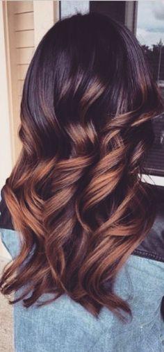 Black hair with caramel balayage highlights