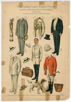 75.2751: The Lettie Lane Paper Family: Presenting Lettie's Father, Who Is a Man of Fashion | paper doll | Paper Dolls | Dolls | National Museum of Play Online Collections | The Strong