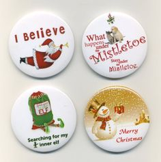 Cute Christmas Badge Pack x 4 Christmas Cards, Merry Christmas, Red Nose Day, Under The Mistletoe, Yearly, Badges, Packing, Valentines, Events