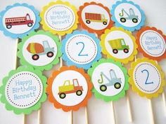 Personalized Trucks Cupcake Toppers for Boys Birthday Party @adorebynat #ArtFire Many different #trucks included some personalization as well.