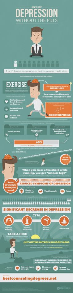 Exercise fights mild depression better than pills. Check out this infographic for more. — Designspiration