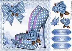 Pretty blue polka dot shoes with roses and bow 8x8 on Craftsuprint - Add To Basket!